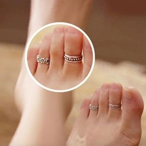 Retro Silver Boho Adjustable Midi Toe Ring